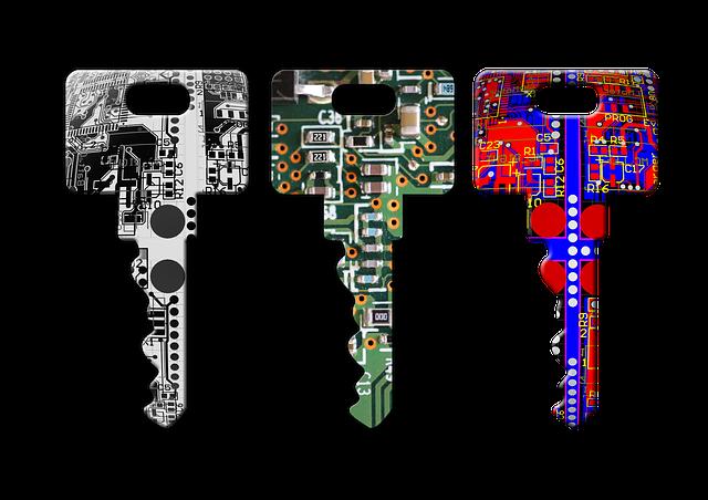 Tre nøgler med print på